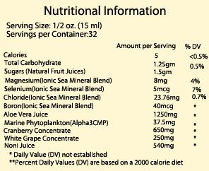 Frequensea Nutritional Information